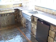 After, Pearland, Texas, Outdoor Kitchen, Veneer Stone, Retaining Wall, Brick Paver Patio