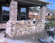 Before, Pearland, Texas, Outdoor Kitchen, Veneer Stone, Retaining Wall, Brick Paver Patio