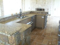 Santa Fe, Texas, Outdoor Kitchen, Travertine Flooring, Veneer Stone, Natural Stone, Fire Place