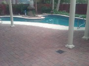 Clear Lake Texas Pool Decking Belgard Cambridge Collection Brick Pavers Drainage Retaining Wall Walkway