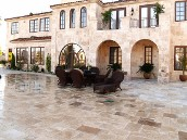 Sugar Land, Texas, Travertine Patio, Retaining Wall, Fire Pit, Landscaping, Drainage System