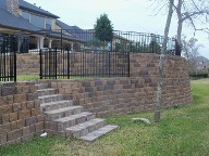 Friendswood, Texas Retaining Wall, Step System, Travertine, Drainage System, Fire Pit, Fire Place