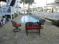 Galveston Pool Deck Belgard Cobble Stone Brick Pavers Landscaping Retaining Wall Fence