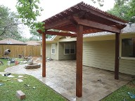 Houston Pergola Brick Pavers Water Feature Drainage System, Bench Seating  Landscaping, Fire Pit