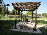 League City Pergola Brick Pavers Water Feature Drainage System, Bench Seating Landscaping