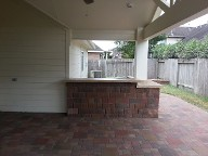 Sugar Land Texas, Outdoor Kitchen Bar Area,Brick Paver Patio, Retaining Wall