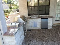 Bay Oaks, Houston Texas. Outdoor Kitchen, Drainage system, Belgards Brick Paver Patio, Retaining Wall