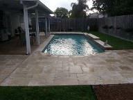 La Porte, Texas Retaining Wall, Step System, Travertine Pool Decking, Drainage System, Fire Pit, Fire Place