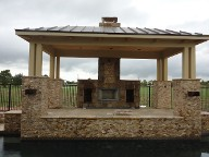 Pearland, Texas Retaining Wall, Step System, Travertine Pool Decking, Drainage System, Fire Pit, Fire Place
