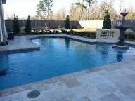 League City, Texas Retaining Wall, Step System, Travertine Pool Decking, Drainage System, Fire Pit, Fire Place