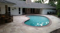 Houston Texas, Travertine Pool Patio, Drainage System, Outdoor Kitchen