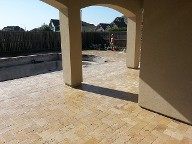 League City Texas Travertine Pool Patio, Retaining Wall, Drainage System, Landscaping