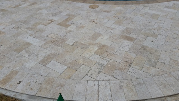 League City, Travertine Pool Surrounding, Channel Drainage System, Retaining Wall